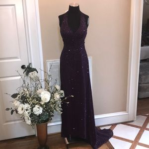 Women's merlot silk beaded formal gown